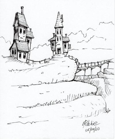 Houses and bridge - image